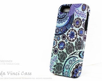 Paisley iPhone 5s - SE case - Blue Mehndi - artistic iPhone 5s TOUGH cover - dual layer Apple iPhone 5s SE case