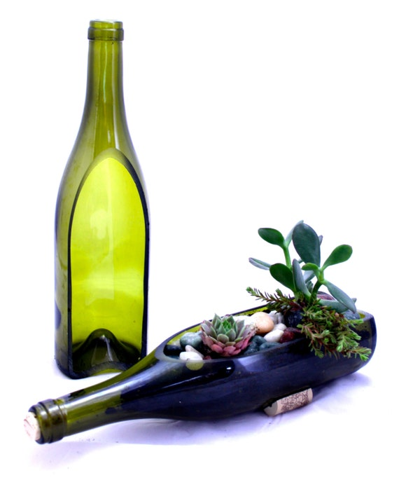 Wine bottle garden succulent planter diy build your own for How to use wine bottles in the garden