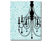 Wall Art - 8 x 10 or larger print - Dining Room Decor - Chandelier Silhouette on damask - Room decor - chandelier silhouette - bedroom art