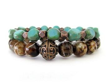 Women's Beaded Stretch Bracelets - Czech Bracelet - Flower Agate Bracelet - Bracelet Stack - Teal Bracelet - WS1760