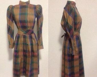 1980s Fall Colors Plaid Dress