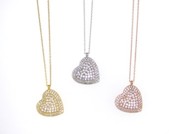Sideway Pave Heart Necklace