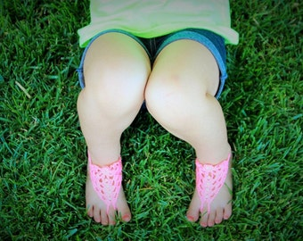 Flower Girl Wedding Favor Baby Shower,Wedding Barefoot Sandals and bracelet,blush ,pink,