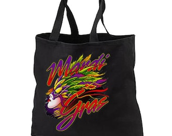 Mardi Gras Carnival Mask New Black Tote Bag, Travel, Gifts, Party