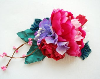 Pink Peony Bridal Hair Comb, Weddings Hair Accessories, Bride Peony Corsage, Bridesmaids Head Piece, Pink Teal Blue Flowers, Bridal Sash