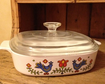 "Vintage Corning Ware Casserole with Lid ""Country Festival"" Blue Birds and Tulips"