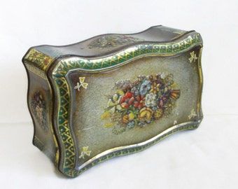 Haribo Lakritzen Bonn, Vintage tin box, Spring flowers, Shabby cottage chic. Home decor, Curved shape. Floral, tinplate. Storage, container