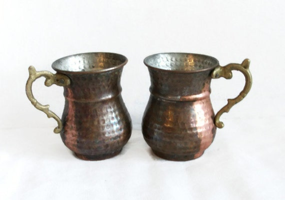 Vintage hammered copper coffee mugs 2 moscow mule cool mint for Cool glass coffee mugs