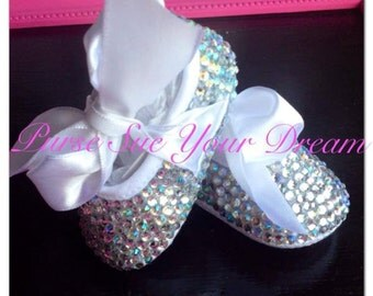 "Crystal Rhinestone Baby Shoes -- Newborn Size Baby ""Glass Slippers"" - Rhinestone Baby Shoes"