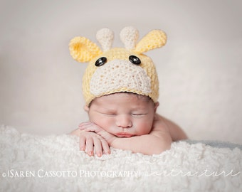 Newborn Giraffe Hat, Beanie crochet animal cap
