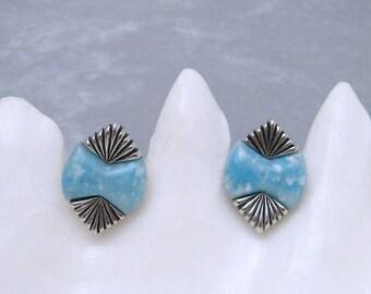 Blue Cufflinks Slim Tie Clip Set 1960s Vintage Mens Jewelry X12
