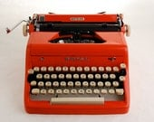 RESERVED: Red Typewriter, Royal Quiet Deluxe, 1950s
