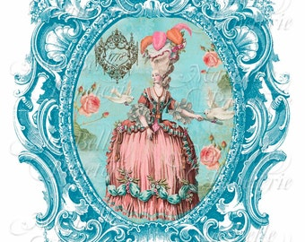 Lavender Sachet-DIY, Marie Antoinette and Vintage Frame-C6 Envelope-Digital Download