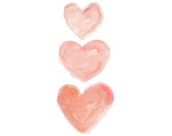Coral Nursery Decor, Watercolor Heart,  Baby Girl Nursery Art, Peach Nursery,  8x10 Nursery Print, Coral Nursery Art, Coral Watercolor Print