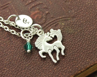 Horse Charm Personalized Birthstone Initial Necklace Antiqued Silver