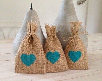 50 Aqua Hessian/ Burlap Wedding Favor Bags
