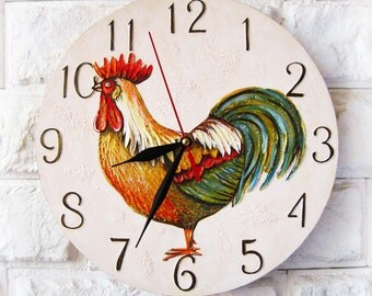 Rooster Wall Clock, Cock, wood clock, kids gift, for Office, Dad Gift, Gift to our Father, Dad Appreciation Gift, Fathers Day Gift