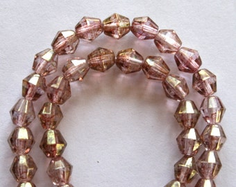 6 mm Czech Faceted Picasso Pink Diamond Crystal Beads