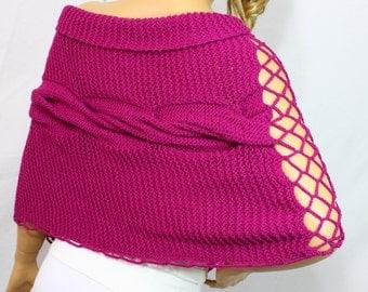 Fuchsia Knit Poncho/Shawl/Wrap,Handknit Poncho,Knitted Fuchsia Poncho 100% Wool Fall Fashion Winter Fashion Women Fashion Gift Idea by ARZUS