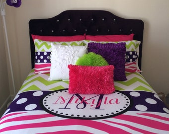 With name or monogram hot pink purple and lime green bedroom