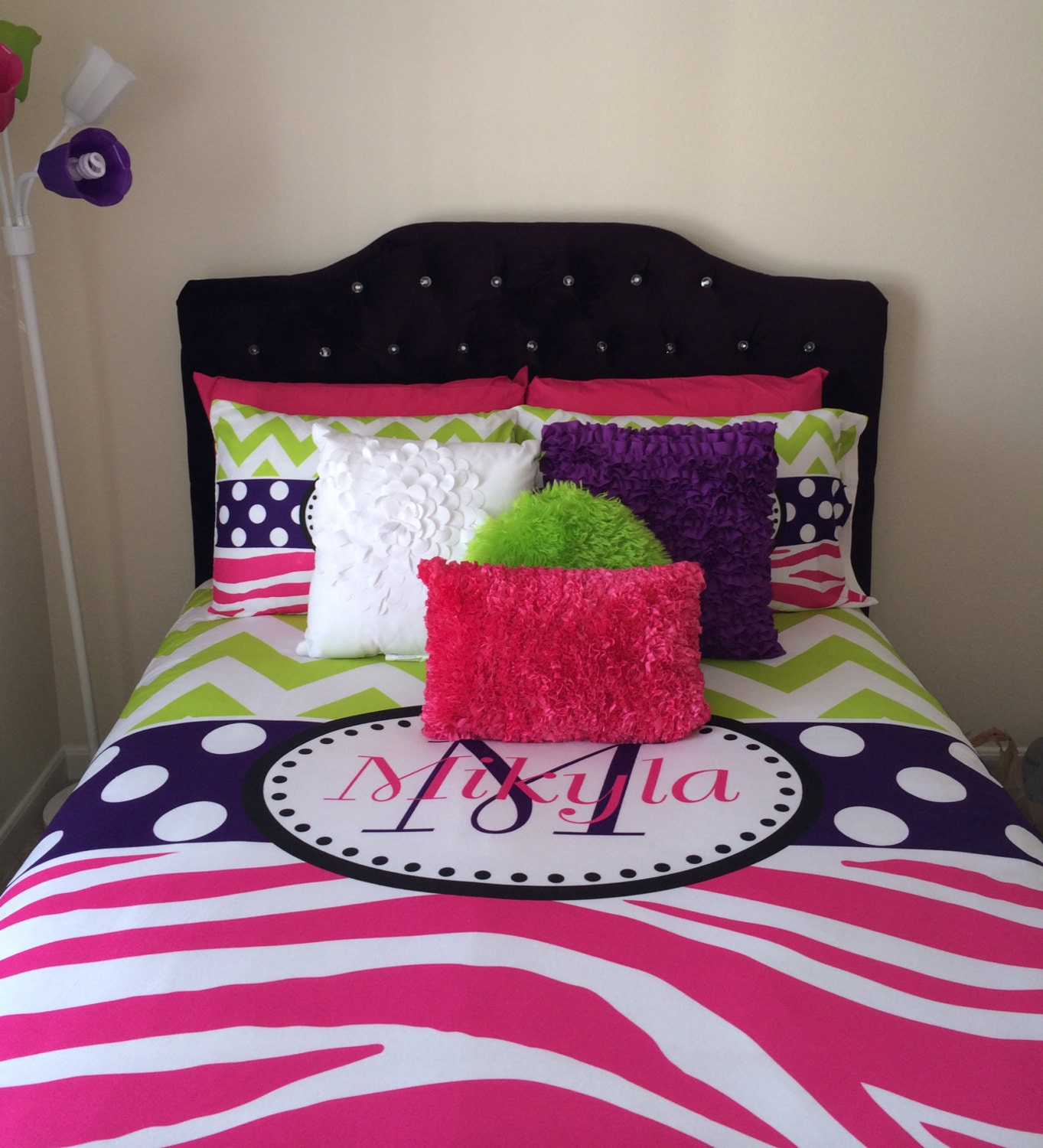 Blue and green bedding for teens - Chevron And Zebra Personalized Bedding With Shams Personalize With Name Or Monogram Hot Pink