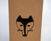 hand stamped friendly fox unlined blank journal