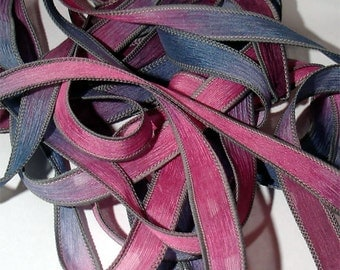 """Majestic 42"""" hand dyed silk wrist wrap bracelet  ribbon//Yoga wrist wrap bracelet ribbons//Silk wrist wrap ribbon// By Color Kissed Silk"""