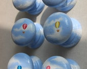 Knobs dresser knob cabinet furniture childs furniture hot air balloon knob hand painted furniture knobs and drawer pulls nursery decor