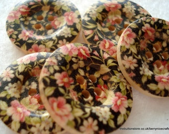 25mm Wood Buttons with Black Pink Green Flower Print Pack of 10 Black Buttons W2506