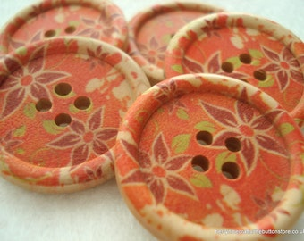 30mm Wood Buttons Orange Brown Flower Pattern Pack of 5 Orange Buttons W3016