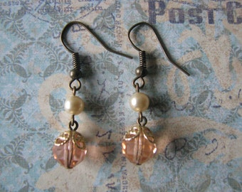 Victorian Style Vintage Pink French Crystal Bead Earrings Assemblage Repurposed Upcycled