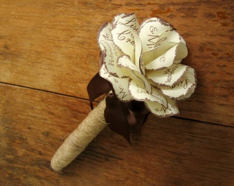 Personalized Wedding  Marker  Rustic Twine Wrapped Fine Point Permanent  Marker Sharpie with Personalized Paper Rose