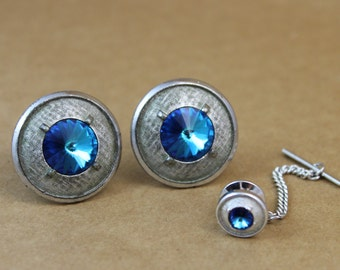 Vintage Blue Rhinestone Cufflinks and Tie Tack Set