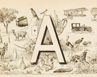 Antique French Dictionary Page - Initial - The Letter A Page - Alphabet Paris - Original Engraved Print - French Country Decor