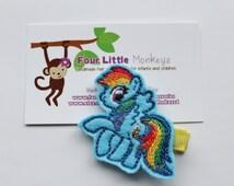 Felt Embroidered Rainbow Pony Hair Clip