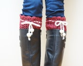 Crochet boot cuffs Leg warmers topper deep dark red bordeaux crimson handmade christmas white ready to ship felt ball Wool knitted liner - feltinga