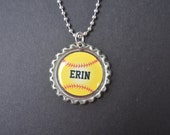 1 Personalized Softball Bottlecap Necklace,GLITTER or Plain, softball gifts, softball team, softball team gifts, softball necklaces