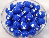 Blue and Star 20mm Chunky Acrylic Bubblegum Beads set of 10
