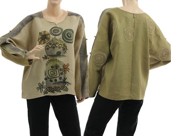 Artsy boho linen long sleeved blouse tunic / in natural olive, handpainted / lagenlook for small to medium sized women S M, US size 6-8/10