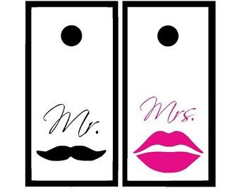 Custom Cornhole Decal Set, Wedding Cornhole, Mr and Mrs Wedding Decor, Mustache and Lips Decals