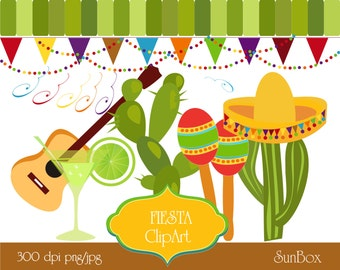 Fiesta Clipart, Cinco de Mayo Party, Lime Green Cactus Margarita Banners Sombrero 12 ClipArt for scrapbooking  - instant download - CU OK