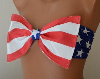 BS1293 PADDED...American flag bow bandeau bikini top with removable neck strap-American flag swimwear-Flag swimsuit-Bikini top-XS-S-M-L-XL