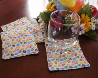 Bright Spring Colored Jelly Beans Coasters Set of 4