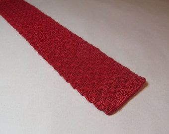Vintage Mens Tie -- Midcentury Vibrant Red Square End Knit Tie