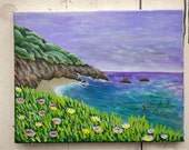 """Original Art Canvas """"Tropical Paradise"""" 11x14"""", OOAK. 100% of the profits go directly to artists with disabilities Item 40 Zaida S."""