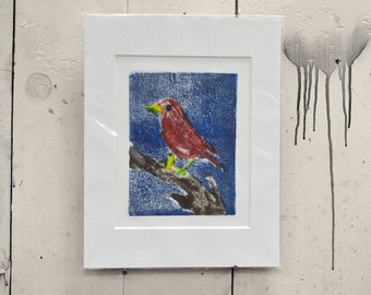 "Red Bird One of a Kind Monotype 11x14"" 100% of the profits go directly to artists with disabilities Item 11 David S."