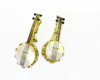 Vintage Banjo Brooch Set of 2 Gold tone Circa 1960