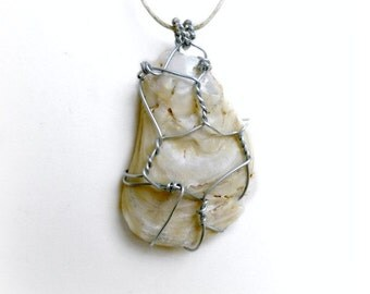 Seashell wire wrapped pendant, Weathered Shell jewelry, broken seashell, summer jewelry, native boho beach necklace, nautical eco jewelry