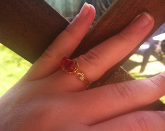 Red Coral on Gold Plated Ring Size 8