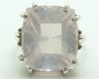 8.80 Carat Rose Quartz Gemstone Ring Size 6 Sterling Silver Hand Cut Gem